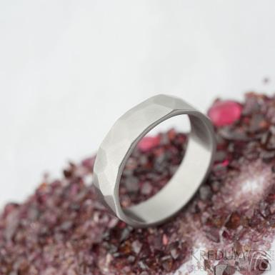 Skalák matný - velikost 64, šířka 6,2 mm, tloušťka 1,5 mm - Kovaný nerezový snubní prsten, SK2121 (4)