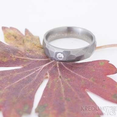 Skalák titan matný a čirý diamant 2,7 mm - Titanový snubní prsten