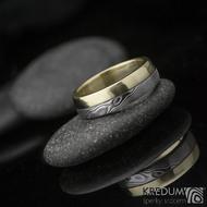 Columba yellow - Zlatý snubní prsten a damasteel - poměr 1:1