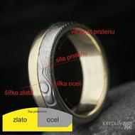 Zlatý prsten a damasteel Columba - rozměry