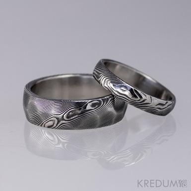 Snubní prsten damasteel - Rocksteel - dřevo tmavé
