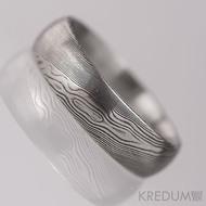 PRIMA a černý diamant 1,7 mm - dřevo - Snubní prsten kovaná nerezová ocel damasteel, S1162