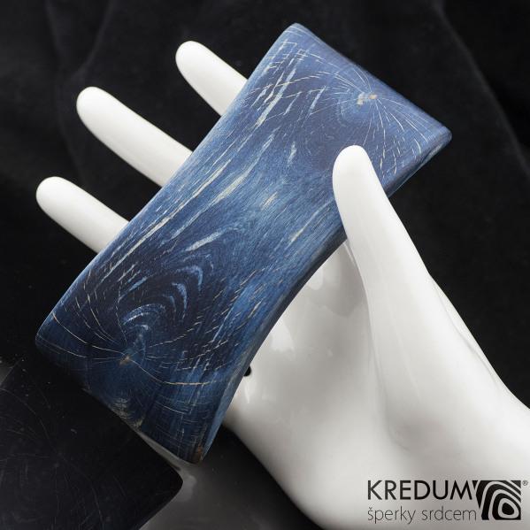 Buk modrý velký - Ručně vyrobená dřevěná spona, produkt č. 2178