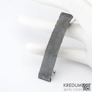 Linka draill tmavá - základ 5 cm, šíře 9 mm - Nerezová spona do vlasů