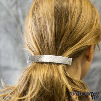 Linka Archeos - základ 10 cm, šíře 1,6 cm - Tepaná nerezová spona do vlasů