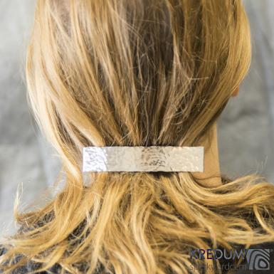 Linka draill lesklá - základ 10 cm, šíře 2 cm - Nerezová spona do vlasů
