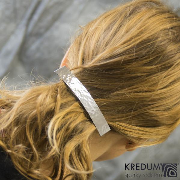 Linka draill lesklá - základ 10 cm, šíře 1,6 cm - Nerezová spona do vlasů
