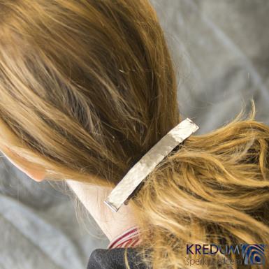 Linka draill matná - základ 10 cm, šíře 1,2 cm - Nerezová spona do vlasů