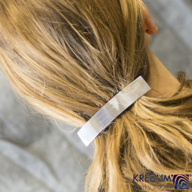 Linka klasik lesklá - základ 10 cm, šíře 2 cm - Nerezová spona do vlasů