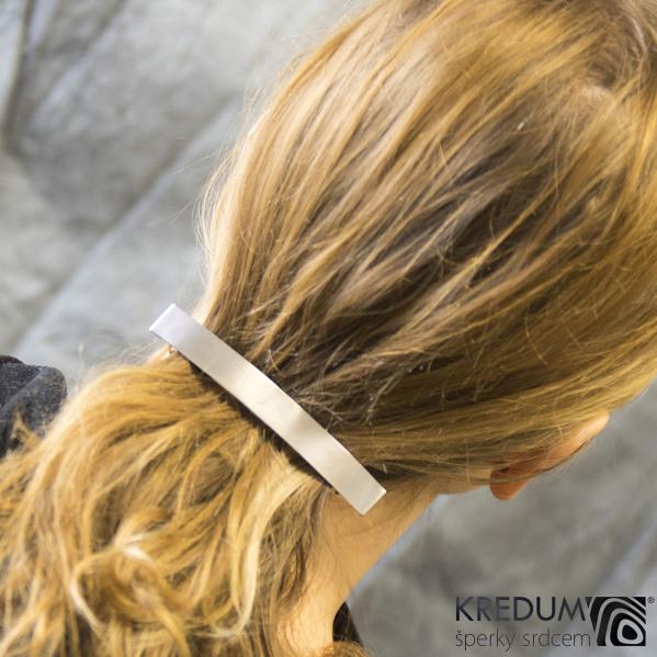 Linka klasik matná - základ 10 cm, šíře 1,2 cm - Hladká nerezová spona do vlasů