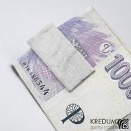 Spona na bankovky - Kovaná nerezová ocel damasteel, SK1477