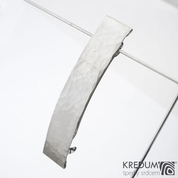 Linka draill matná - základ 8 cm, šíře 1,6 cm - Nerezová spona do vlasů