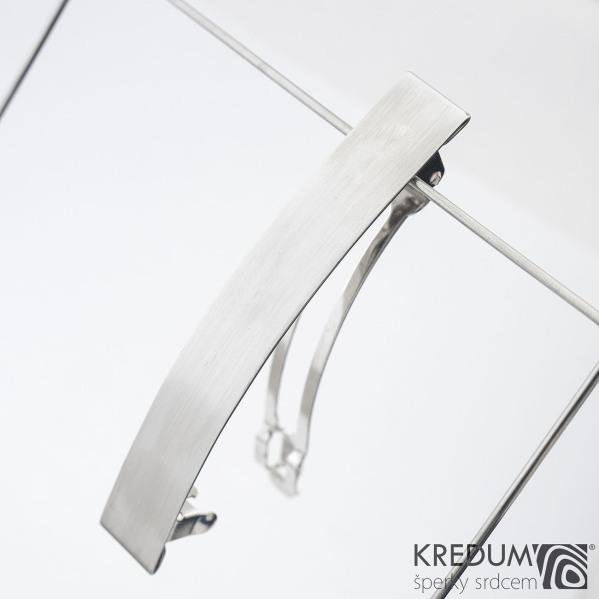 Linka klasik matná - základ 8 cm, šíře 1,2 cm - Nerezová spona do vlasů