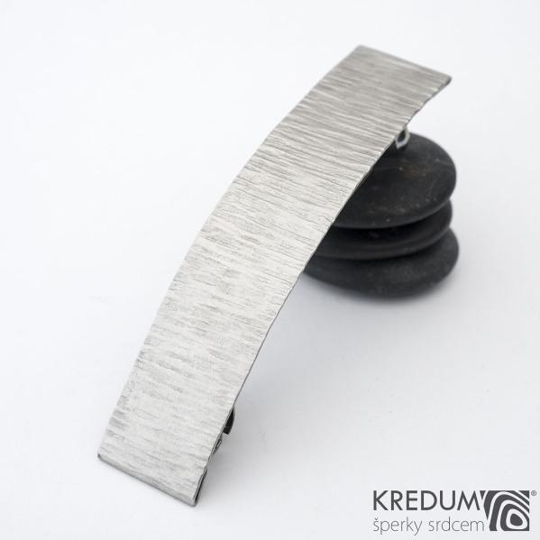 Linka wood světlý matný - základ 8 cm, šíře 1,9 cm - Nerezová spona do vlasů