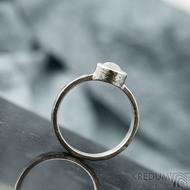 Spring a kabošon měsíčního kamene - velikost 57, šířka 3,5 mm, lesklý - Kovaný prsten z nerezové oceli, SK2101 (5)