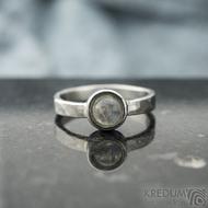 Spring a kabošon měsíčního kamene - velikost 57, šířka 3,5 mm, lesklý - Kovaný prsten z nerezové oceli, SK2101 (9)