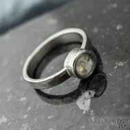 Spring a kabošon měsíčního kamene - velikost 57, šířka 3,5 mm, lesklý - Kovaný prsten z nerezové oceli, SK2101 (6)
