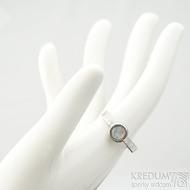 Spring a kabošon měsíčního kamene - velikost 57, šířka 3,5 mm, lesklý - Kovaný prsten z nerezové oceli, SK2101 (10)