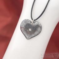Srdíčko kolečka a diamant 2 mm - Kovaný přívěsek z oceli damasteel, SK1816 (2)