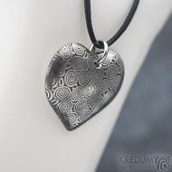 Srdíčko kolečka a diamant 2 mm - Kovaný přívěsek z oceli damasteel, SK1816 (3)