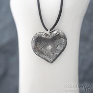 Srdíčko kolečka a diamant 2 mm - Kovaný přívěsek z oceli damasteel, SK1816 (4)