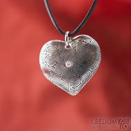 Srdíčko kolečka a diamant 2 mm - Kovaný přívěsek z oceli damasteel, SK1816