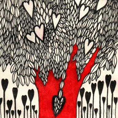 Ručně malované oznámení k svatbě - Strom lásky