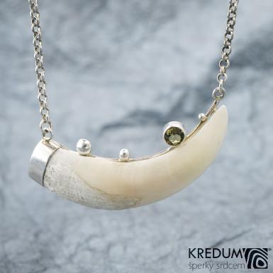 Sus scrofa - Přívěsek s kančím zubem a olivínem, SK1532