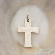 Tepaný křížek - Přívěsek z bílého zlata - fl 3887380 (2)