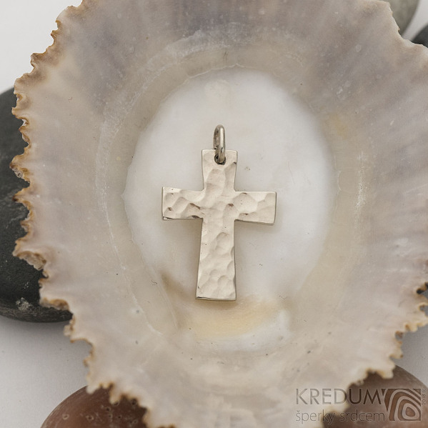 Tepaný křížek - Přívěsek z bílého zlata - fl 3887380 (6)