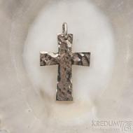 Tepaný křížek - Přívěsek z bílého zlata - fl 3887380