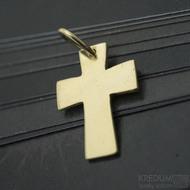Tepaný křížek - Přívěsek ze žlutého zlata, produkt SK2960 - zadní strana je hladká