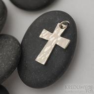 Tepaný křížek z bílého zlata - Zlatý přívěsek -fl 3887380