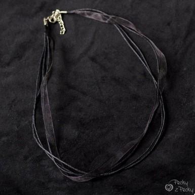 Kombinovaná textilní šňůrka bižuterní - černá