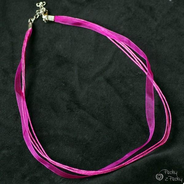 Kombinovaná textilní šňůrka se zapínáním - fialová