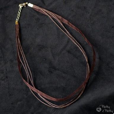 Kombinovaná textilní šňůrka bižuterní - hnědá