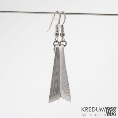 Triane - Kované náušnice z oceli damasteel, SK1251