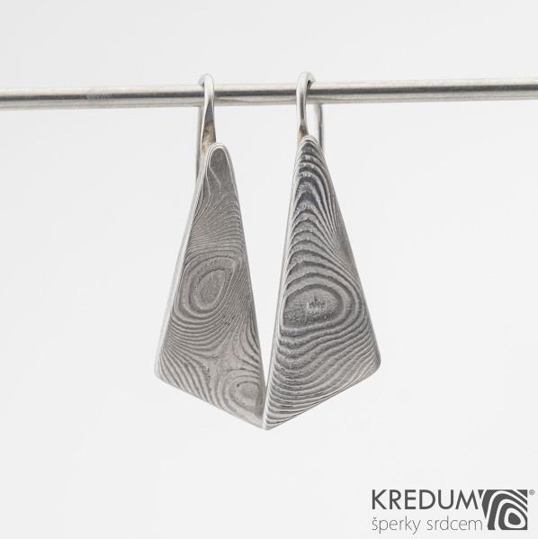 Triangulo - Kované damasteel náušnice, SK1253