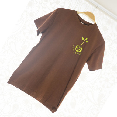 Život je pecka - bavlněné tričko hnědé a světle zelené logo
