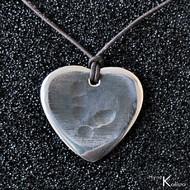 Trsátko ocel nerez kov - Heart - srdce - na kožené šňůrce