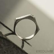 Tulipus a čirý diamant 1,7 mm - Damasteel zásnubní prsten, S831 - velikost 48,5 - TW lept 75 SV (2)