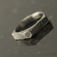 Tulipus a čirý diamant 1,7 mm - Damasteel zásnubní prsten, S831 - velikost 48,5 - TW lept 75 SV (3)