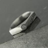 Tulipus a čirý diamant 1,7 mm - Damasteel zásnubní prsten, S831 - velikost 48,5 - TW lept 75 SV (5)