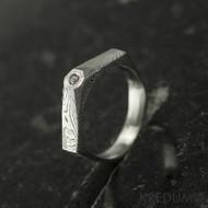 Tulipus a čirý diamant 1,7 mm - Damasteel zásnubní prsten, S831 - velikost 48,5 - TW lept 75 SV (6)