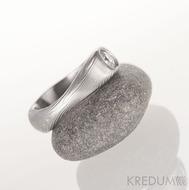 Kovaný zásnubní prsten damasteel a diamant nad 3 mm - Vahia velká