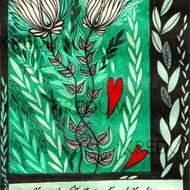 Ručně malované oznámení k svatbě - Z lásky rosteme - ukázka možného řešení textu