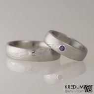 Snubní prsten Prima a broušený ametyst ve stříbře