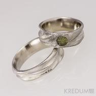 Zásnubní prsten z ocele damasteel - Víla vod a vltavín - natural