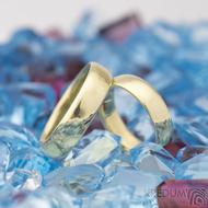 Zlaté snubní prsteny klasik gold yellow lesklé - velikost 48, šířka 4,5 mm, tl 1,3 mm, profil E + velikost 57, šířka 5 mm, tl 1,5 mm, profil E - K 1475 (4)