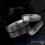 Siona a moissanite 3 mm do zlata a Prima - damasteel kované snubní prsteny - k 0263 (5)